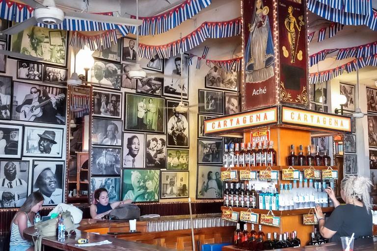 Cartagena Colombia Old Walled City Center centre Getsemani Cafe Havana tavern bar pub inside decor vintage photos Cuban musicians