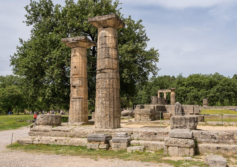 Temple of Hera at the site of the first Olympics at Olympia in Greece