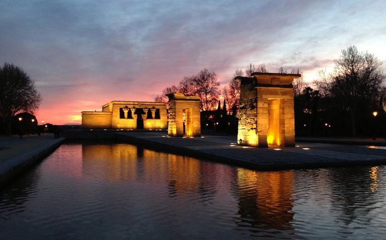 The Templo de Debod at sunset