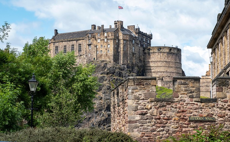 Flodden Wall and Edinburgh Castle in the heart of Edinburgh old town.