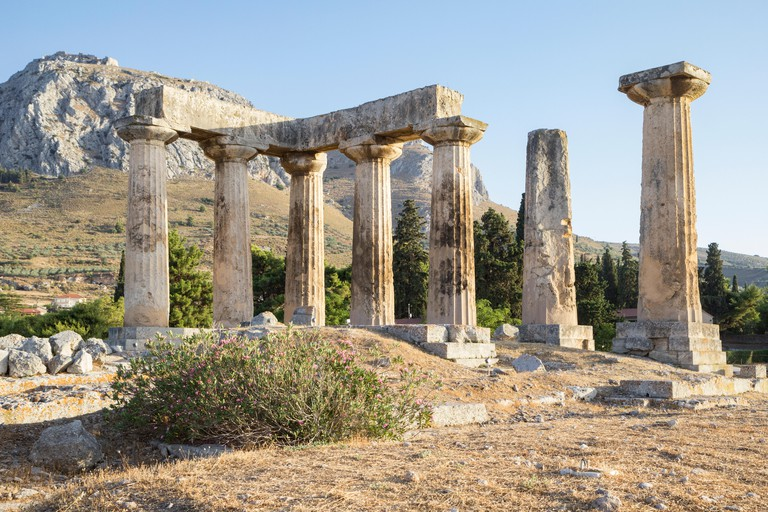 Archaic Temple of Apollo, Dorian columns, Corinth, Greece
