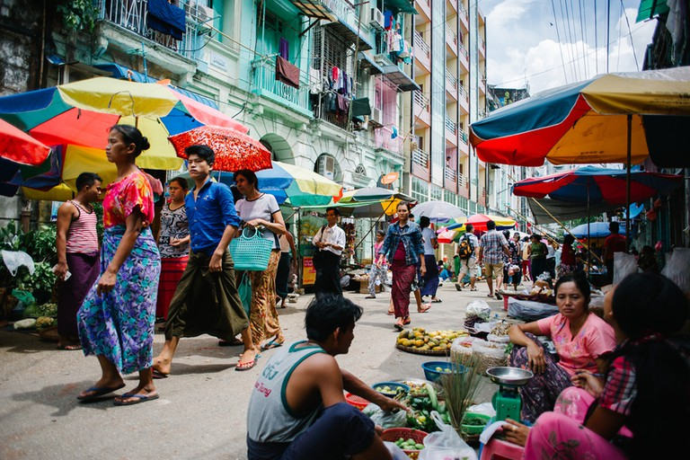 The brightly saturated tones of a street market in Yangon, Myanmar