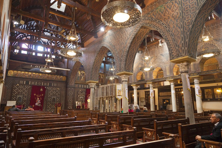 Inside view of the Saint Virgin Mary's Coptic Orthodox Church. Also known as the Hanging Church.