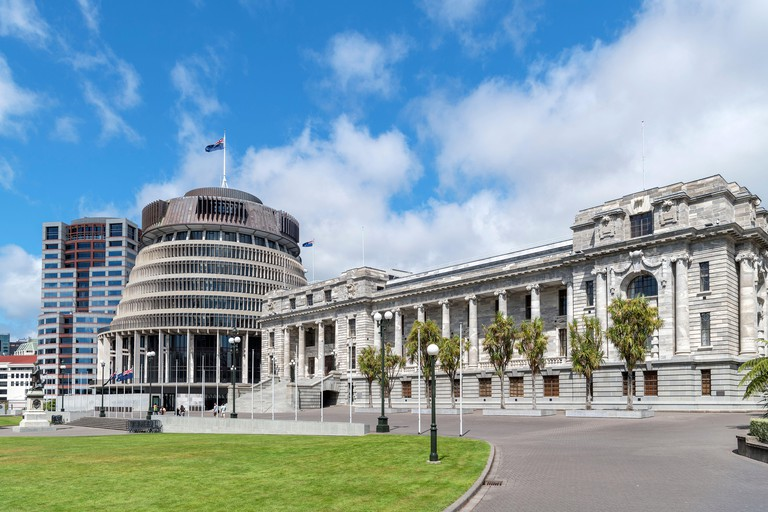New Zealand Parliament Buildings comprising Parliament House, The Beehive and Bowen House, Wellington, New Zealand