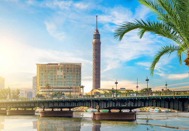 The Cairo Tower rises above the Nile