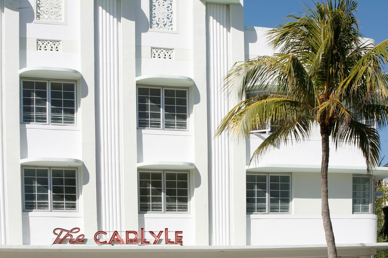 Hotel Carlyle, Ocean Drive, Miami. Art Deco buildings line Ocean Drive