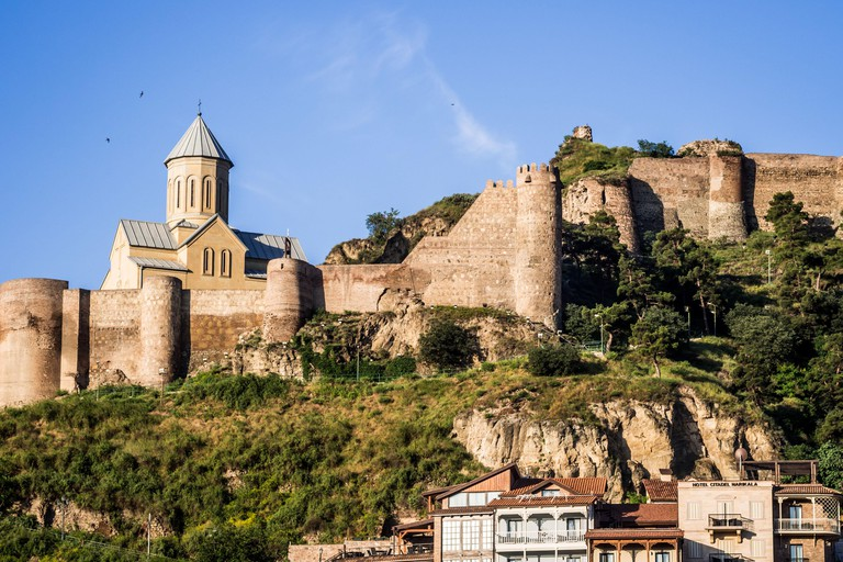 Narikala fortress and the old town of Tbilisi, Georgia.