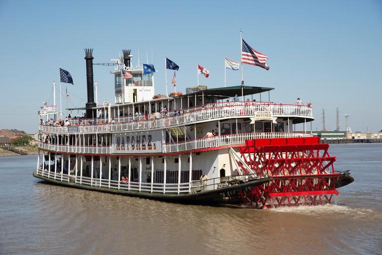 Steamer Natchez tour boat on The Mississippi River New Orleans USA