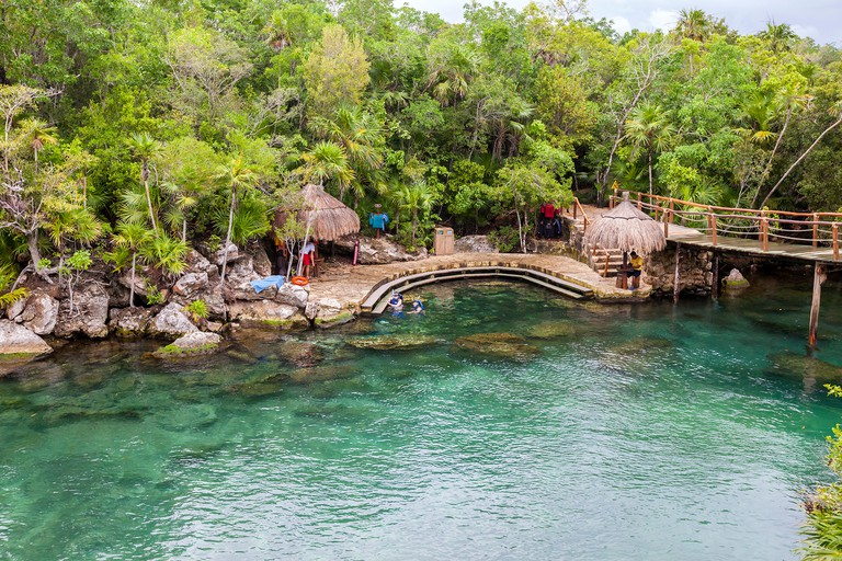 Launching Place for Snorklers and Swimmers, Xel Ha Eco-adventure Park, Playa del Carmen, Riviera Maya, Yucatan, Mexico.