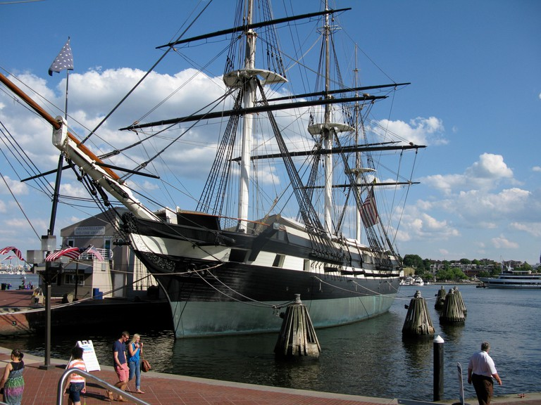USS Constellation (1854), the last sail-only warship commissioned for the US Navy, now a museum in Baltimore Harbor, Maryland. Image shot 2012. Exact date unknown.