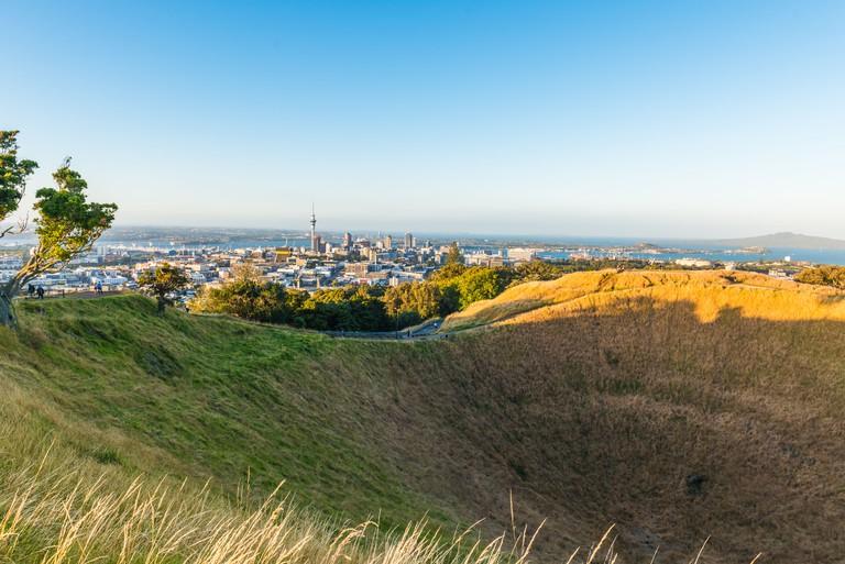 Mount Eden volcano in Auckland, Newzealand.