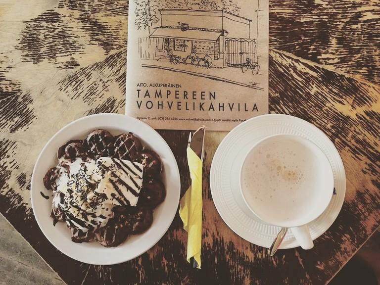 Vohvelikahvila waffles in Tampere.