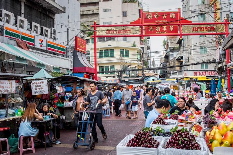 Street food market, at Itsara nuphap, Chinatown, Bangkok, Thailand