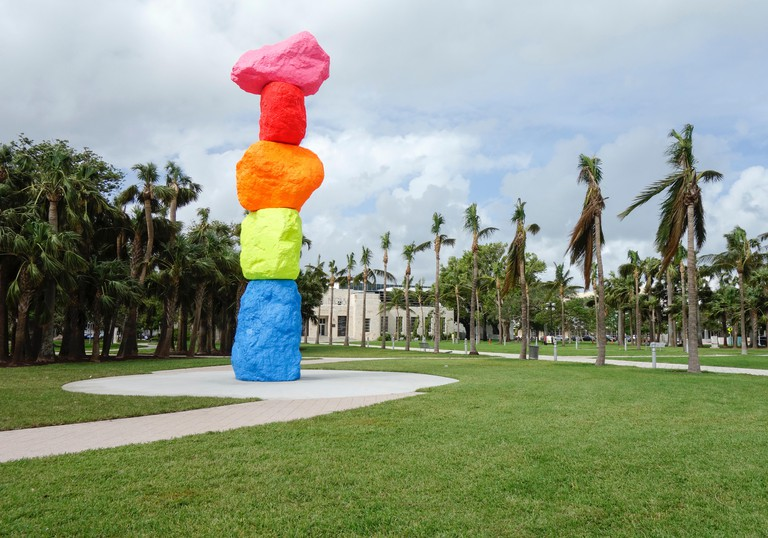 Miami Mountain Sculpture by Ugo Rondinone at the entrance to the Bass Museum, Collins Park, Miami Beach, USA.