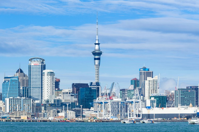 new zealand auckland new zealand north island auckland skyline Waitemata Harbour panorama of cbd sky tower and wharf area of the waterfront auckland