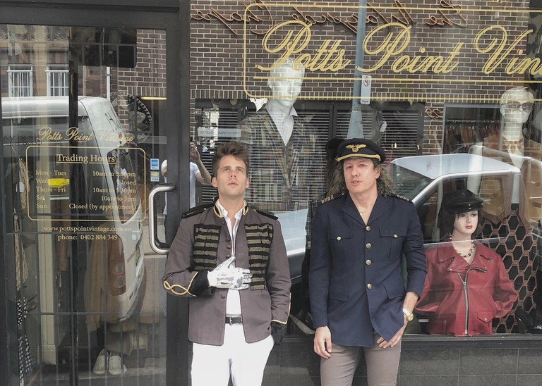 Owner Arnold Kielgaard (right) with musician Kyle Bielfield © Potts Point Vintage
