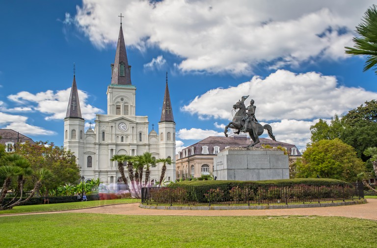 Jackson Square and St. Louis Cathedral in New Orleans, LA