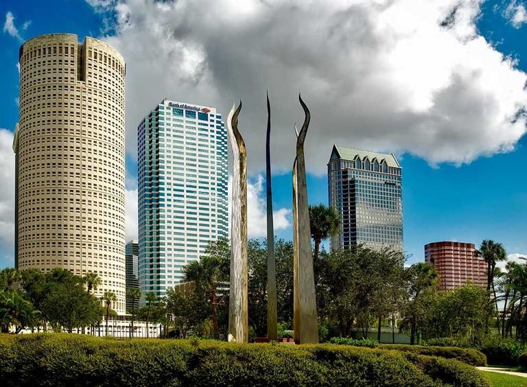 Downtown Tampa buildings on the Riverwalk