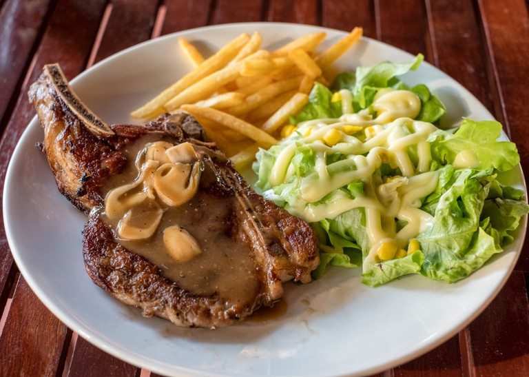 Grilled pork ribs steak