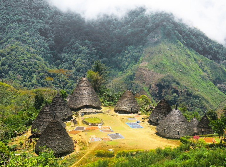 Bird eye view of indigenous conical huts in Wae Rebo Village, Flores Island, Indonesia
