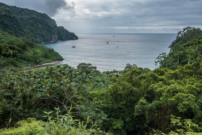 View over Wafers Bay Cocos Island Costa Rica.