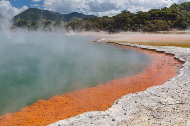 New Zealand, North Island, Waikato region, Taupo Volcanic Zone, Wai-O-Tapu Geothermal Park, Champagne Pool
