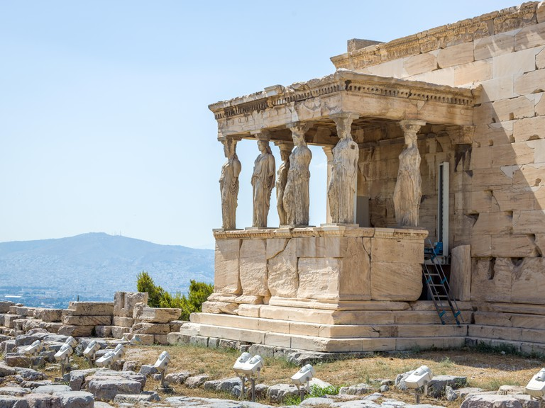 Athens, Greece, 9 July 2019 - The Caryatids porch of the historic Erectheion temple in Athens's Acropolis. Photo by Enrique Shore/Alamy Stock Photos