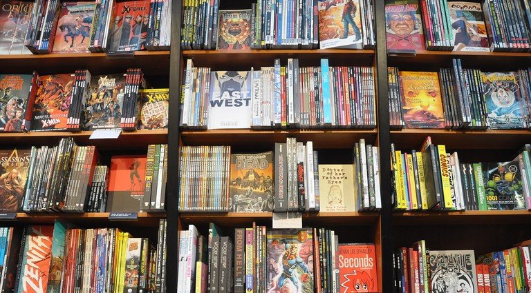 Graphic novels in a bookstore