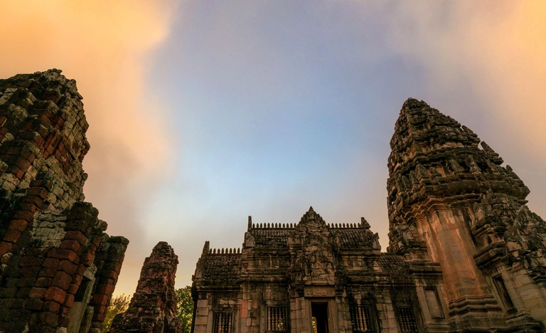 Phimai Historical Park with blue sky. Landmark of Nakhon Ratchasima, Thailand. Travel destinations. Historic site is ancient. Ancient building. Khmer