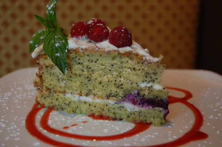 A slice of poppy seed cake
