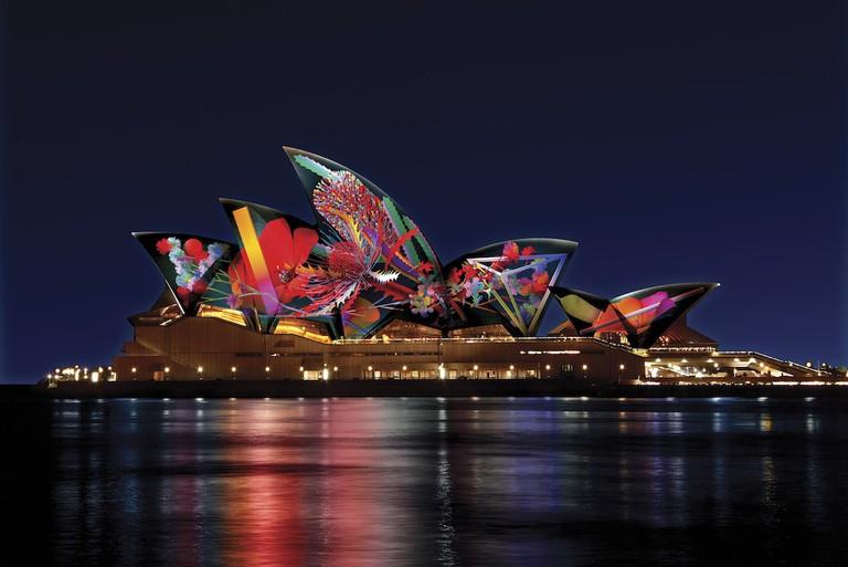 Artist's impression of 'Bouquet' by Jonathan Zawada at the Sydney Opera House © Vivid Sydney