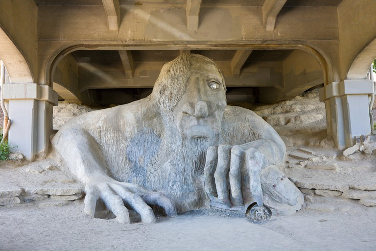 Troll Under the Bridge artwork in Fremont, Seattle Washington.