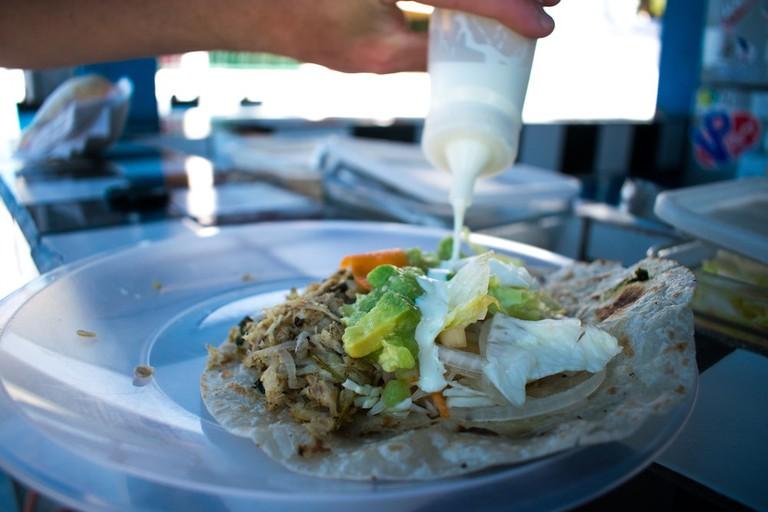 Trying out the manta ray taco at Taqueria La Gaviota
