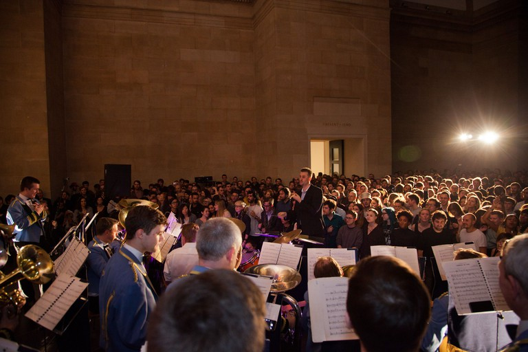 Jeremy Deller's Acid Brass featuring Fairey Brass Band during Late at Tate Britain, London