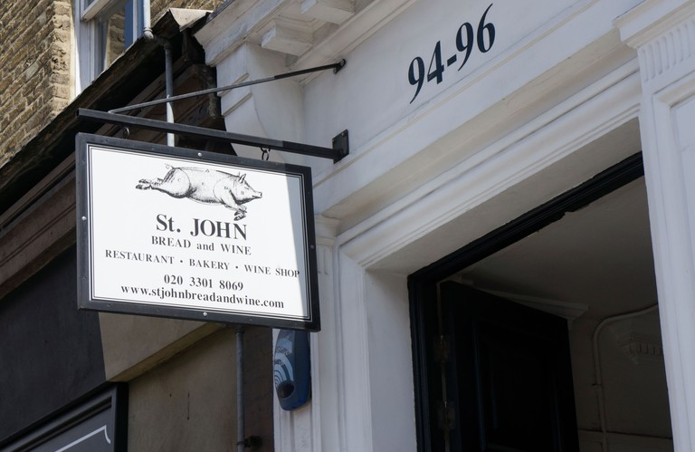 Sign for St John Bread and Wine at 94-96 Commercial Street in East London