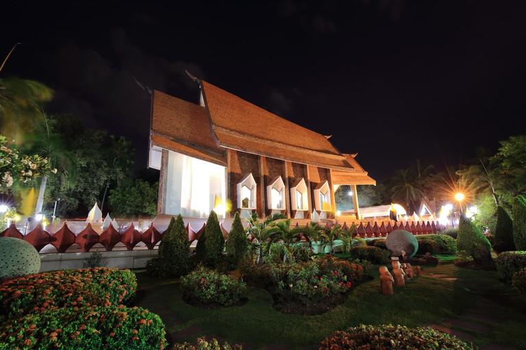 Sala Loi Temple churches at night in Nakhon Ratchasima or Korat province, Thailand