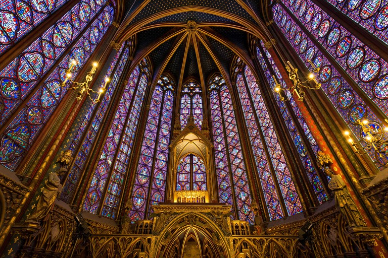 Stained Glass in the Sainte Chapelle, Paris, France.