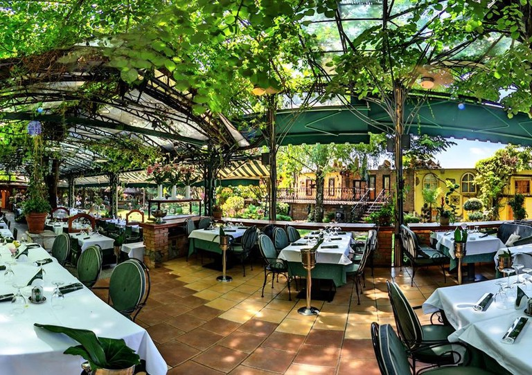 The delightful garden at Franš in Belgrade