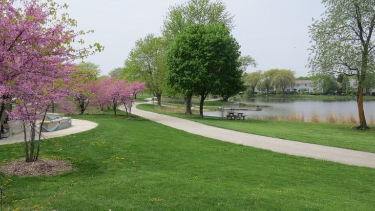 walking trails and picnic areas at Spring Lake Park, Aurora, Illinois
