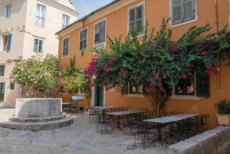 the old ventian well in kremasti square in the old town of kerkyra on the greek island of corfu in greece.