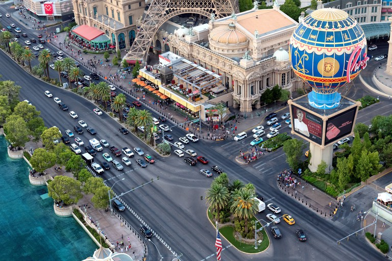 Aerial view of Las Vegas strip in Nevada, USA.