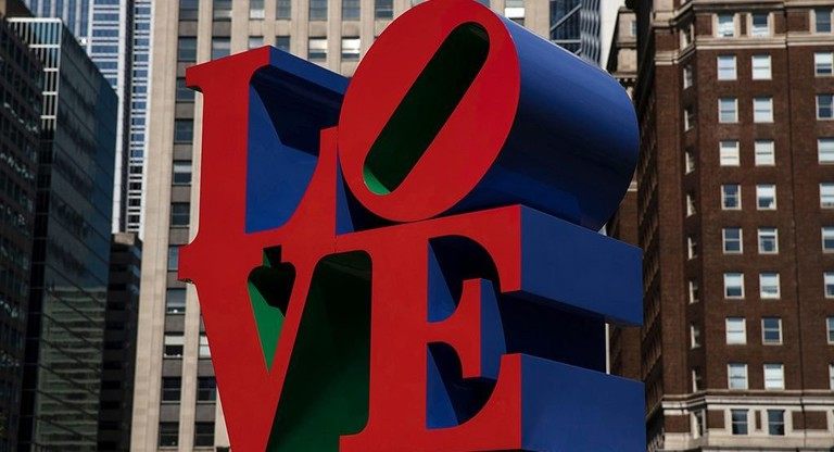 "Robert Indiana sculpture ""LOVE"" in John F. Kennedy Plaza, Philadelphia"