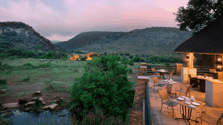 The restaurant overlooks the African plains