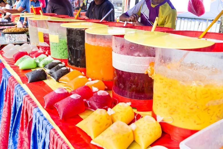 Local drinks at street bazaar in Malaysia