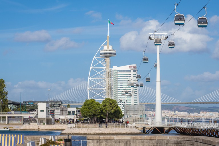 Vasco da Gama Tower and Telecabine Lisbon aerial cable car in Park of Nations in Lisbon city, Portugal