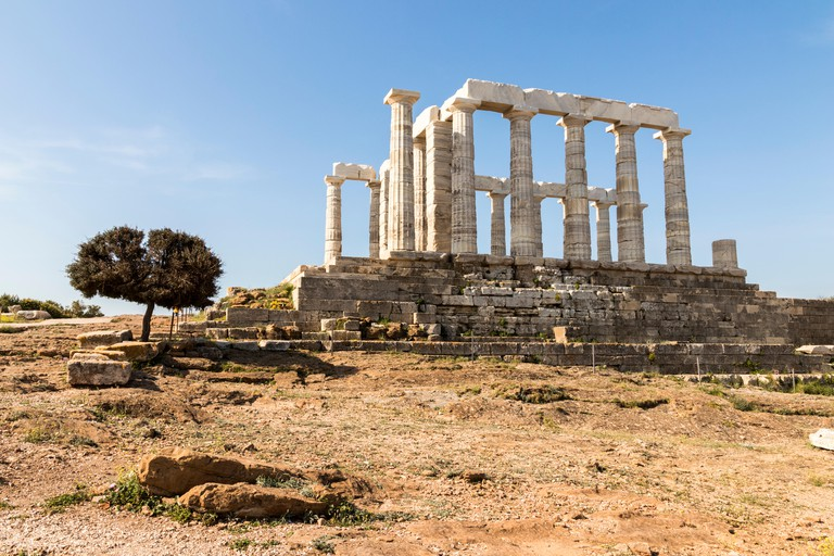 Sounion, Greece. The Temple of Poseidon, an Ancient Greek temple and one of the major monuments of the Golden Age of Athens built at Cape Sounion