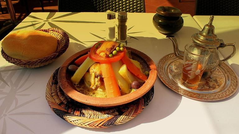 Moroccan tajine with mint tea