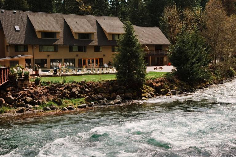 Belknap Hot Springs Resort on the McKenzie River; Cascade Mountains, Oregon.