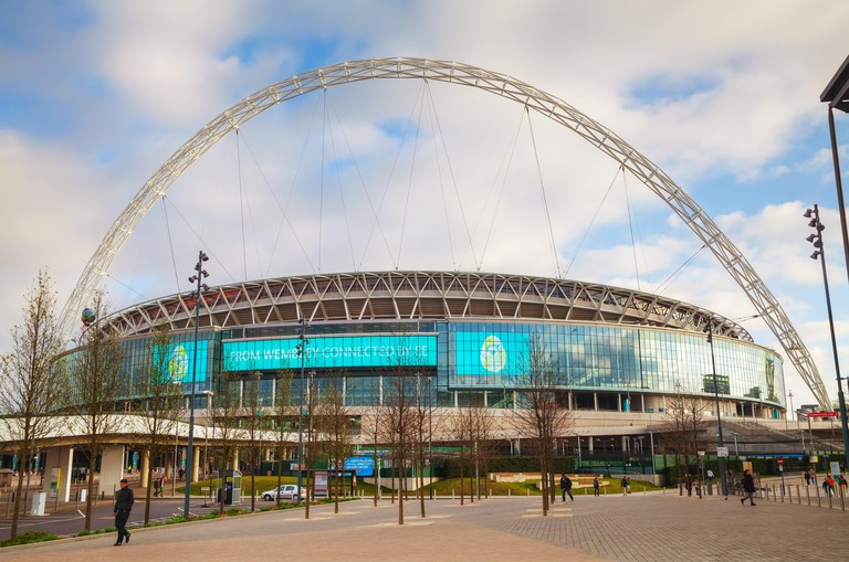 LONDON - APRIL 6: Wembley stadium on April 6, 2015 in London, UK. It's a football stadium in Wembley Park, which opened in 2007