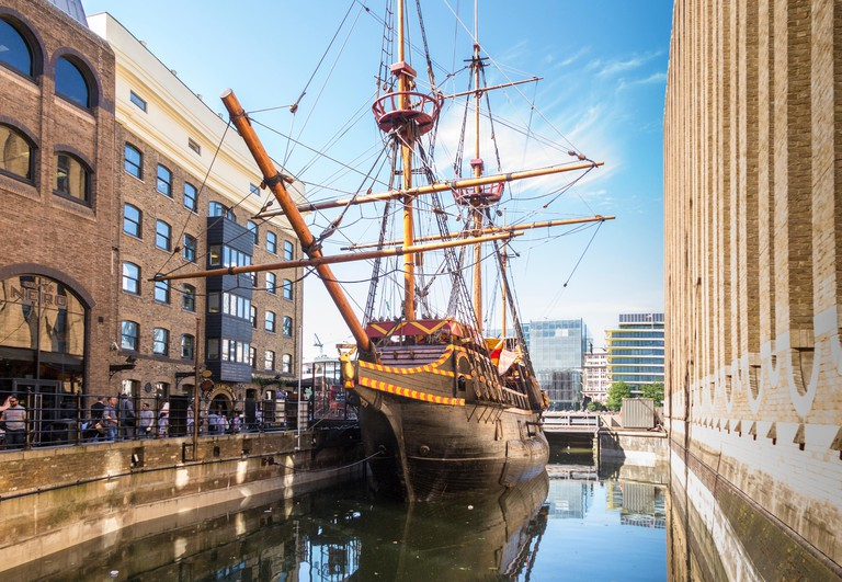 The Golden Hinde in Central London is a full-size replica of Sir Francis Drake's legendary ship